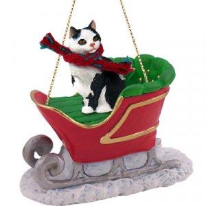 Manx Black & White Sleigh Ride Ornament