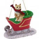 Manx Red Tabby Sleigh Ride Ornament