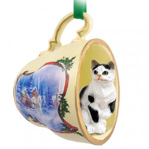 Shorthair Black & White Tabby Sleigh Ride Holiday Tea Cup Ornament