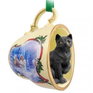 Shorthair Black Tabby Sleigh Ride Holiday Tea Cup Ornament