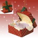 Goat, White Red Gift Box Ornament