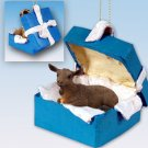Goat, Brown Blue Gift Box Ornament
