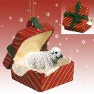Sheep, White Red Gift Box Ornament