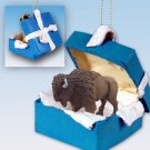 Buffalo  Blue Gift Box Ornament