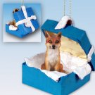 Fox, Red Blue Gift Box Ornament