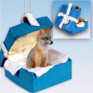 Fox, Gray Blue Gift Box Ornament