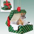 Fox, Gray Green Gift Box Ornament