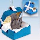 Squirrel, Gray Blue Gift Box Ornament