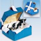 Holstein Bull Blue Gift Box Ornament