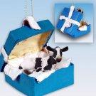 Holstein Cow Blue Gift Box Ornament