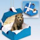 Lion Blue Gift Box Ornament