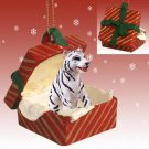 Tiger, White Red Gift Box Ornament
