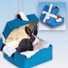 Rabbit, Black & White Blue Gift Box Ornament