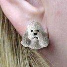 Poodle Gray Sport cut Earrings Post