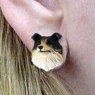 Collie Rd & Black & wt Earrings Post