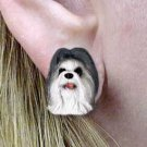 Shih Tzu Gray & White Earrings Post