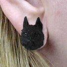 Brussels Griffon Black Earrings Post
