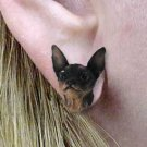 Min Pin Black & Tan Earrings Post