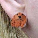 Longhair Dachshund Red Earrings Post