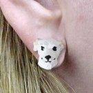 Whippet White Earrings Post