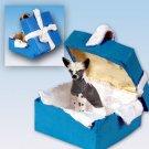 BGBD81 Chinese Crested Dog Blue Gift Box Ornament
