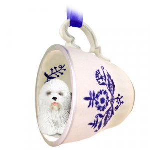 BTCD35 Old English Sheepdog Blue Tea Cup Ornament