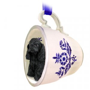 BTCD15B Cocker Spaniel, Black Blue Tea Cup Ornament