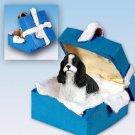 BGBD15E Cocker Spaniel, Black & White Blue Gift Box Ornament