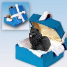 BGBD03B Pomeranian, Black  Blue Gift Box Ornament