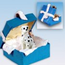 BGBD100C Great Dane, Harlequin, Uncropped Blue Gift Box Ornament