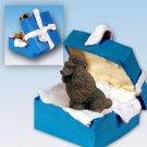 BGBD01E Poodle, Chocolate Blue Gift Box Ornament
