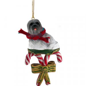 DCC10A Lhasa Apso, Gray Candy Cane Ornament