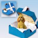 BGBD104C Poodle, Apricot, Sport cut Blue Gift Box Ornament