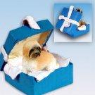 BGBD129B Lhasa Apso, Brown, Sport cut Blue Gift Box Ornament
