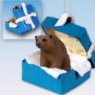 BGBA01 Brown Bear Blue Gift Box Ornament