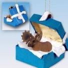 BGBA32 Moose, Bull Blue Gift Box Ornament