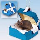 BGBA70 Mouse Blue Gift Box Ornament