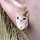 CHE06 Cornish Rex Tortoise & White Post Earrings