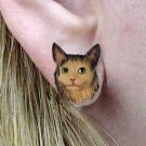 CHE17 Maine Coon Brown Tabby Post Earrings