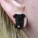 DHE103B Schnauzer Gray Uncropped Earrings Post