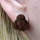 DHE104E Poodle Chocolate Sport Cut Earrings Post
