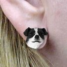 DHE105B Jack Russell Smooth Coat Black & White Earrings Post