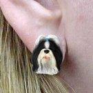 DHE26D Shih Tzu Black & White Earrings Post