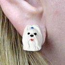 DHE26E Shih Tzu White Earrings Post