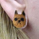 DHE46A Brussels Griffon Red Earrings Post