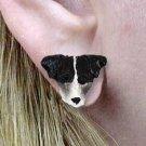 DHE63B Jack Russell Rough Coat Black & White Earrings Post