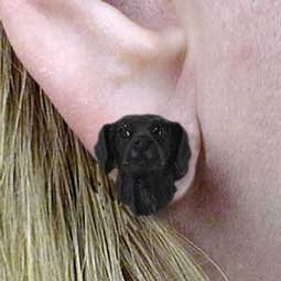 DHE85 Flat Coat Retriever Earrings Post
