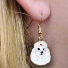 DHEH01A Poodle White Earrings Hanging