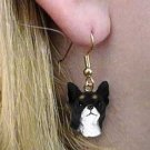 DHEH06A Chihuahua Black & White Earrings Hanging