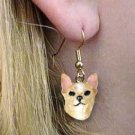DHEH06B Chihuahua Tan & White Earrings Hanging